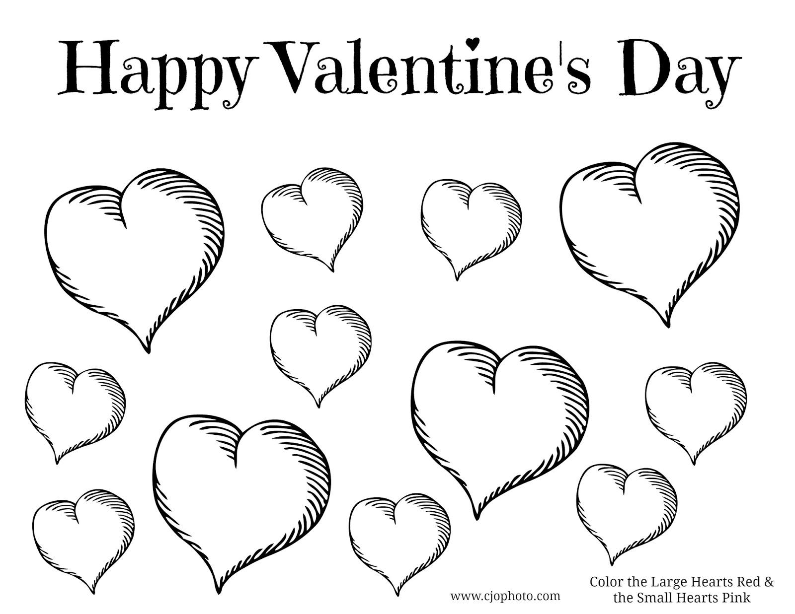 CJO Photo Valentine's Day Coloring Page Valentine's Day Hearts