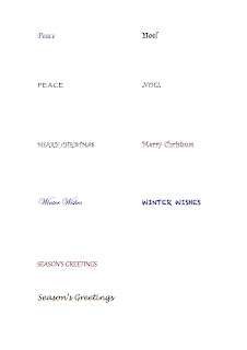 Printed sheet of Christmas sentiments