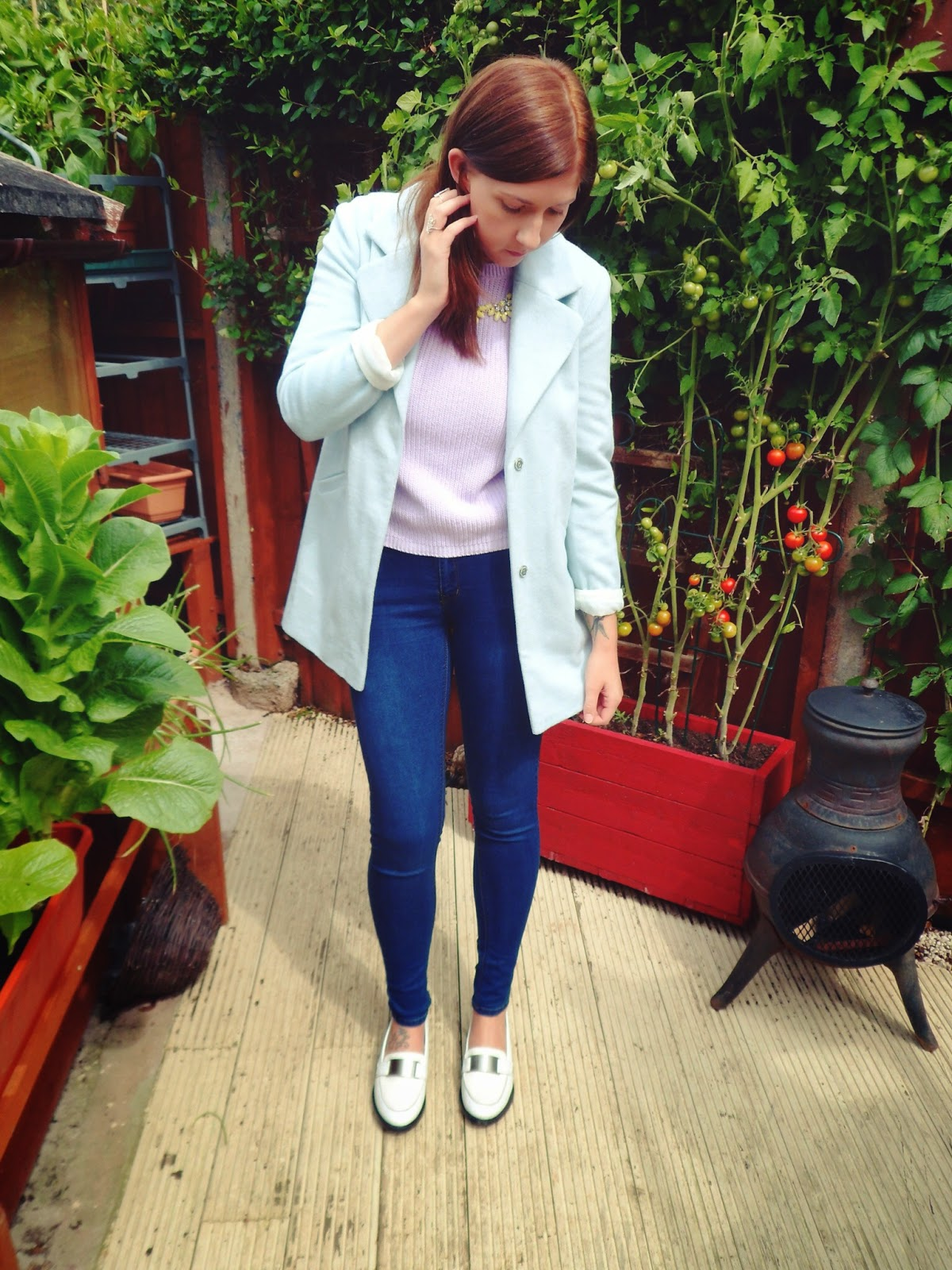 androgyny, pastels, asos, primark, skinny jeans, ootd, boyfriends coat, lilac, blue, leather, Autumn/ Winter 2014, autumn, winter, outfitoftheday, win, whatimwearing, whatibought, asseenonme, fbloggers, fashionbloggers