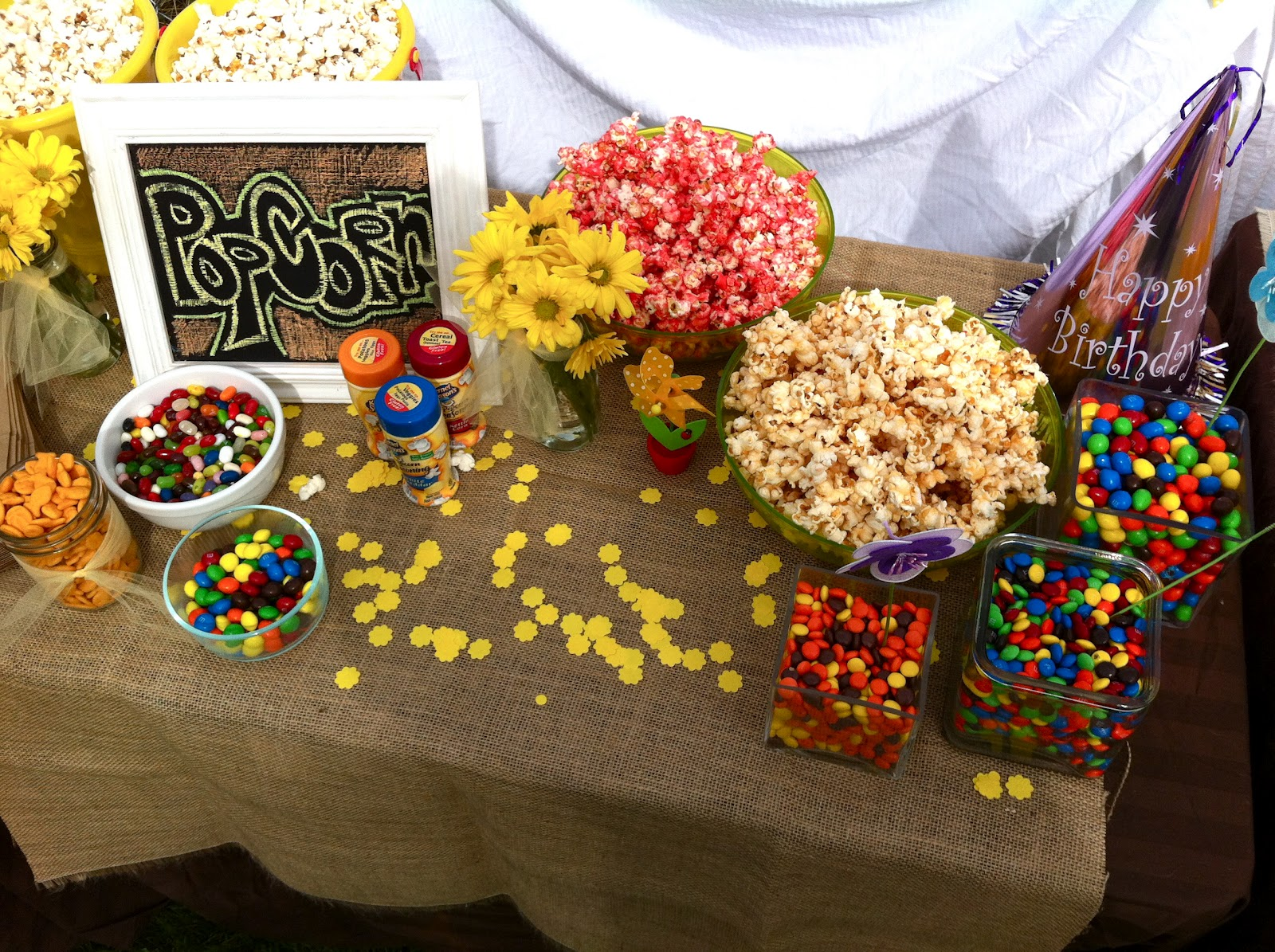 Popcorn Bar: Regular Popcorn  Seasonings And Different Candy Toppings To  Throw In A Bag.