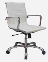 Joplin White Leather Conference Chair by Woodstock