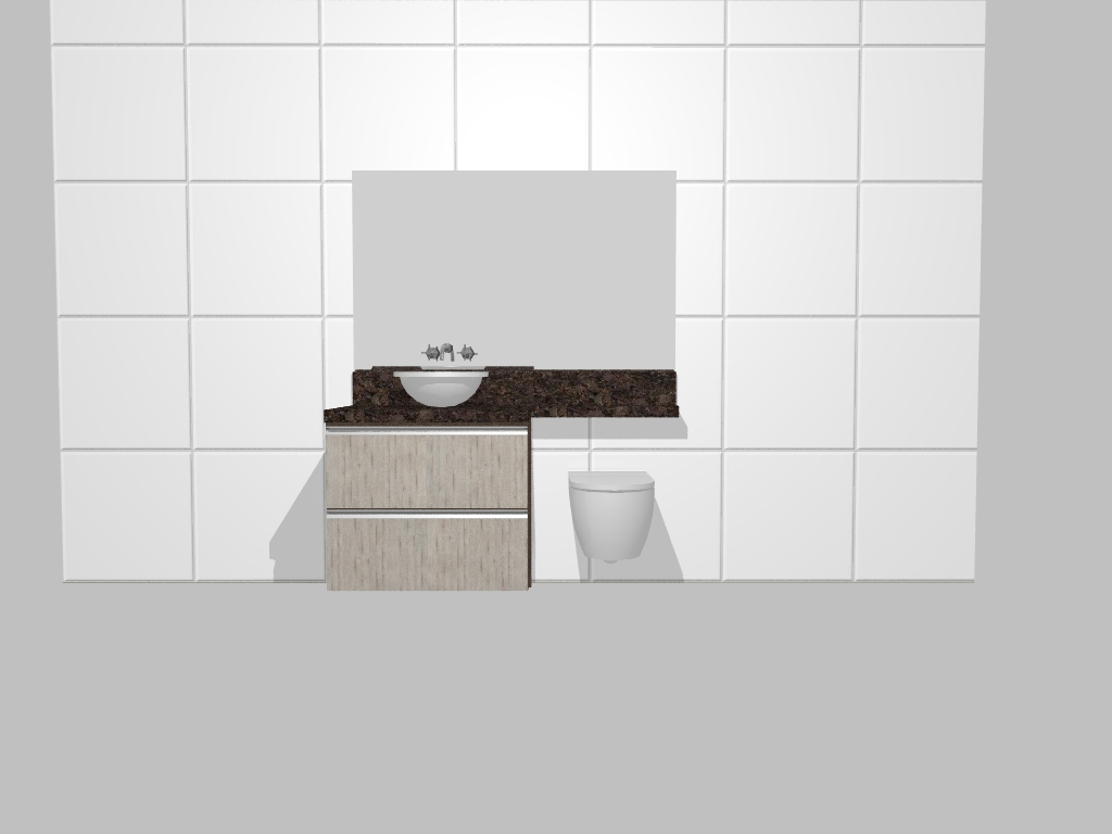 Gabinete do banheiro bem simples um articulado e um gavetaõ nas cores  #372C26 1024 768