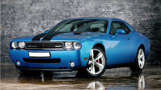 Blue Dodge Challenger SRT Front Supercar Race Stripes Musclecar HD Wallpaper