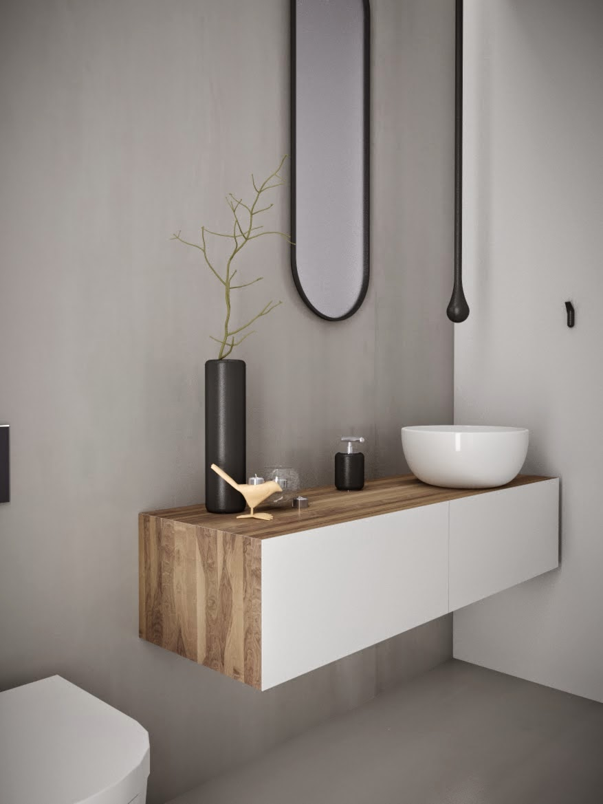 Minosa powder room something different is becoming normal for Normal bathroom designs