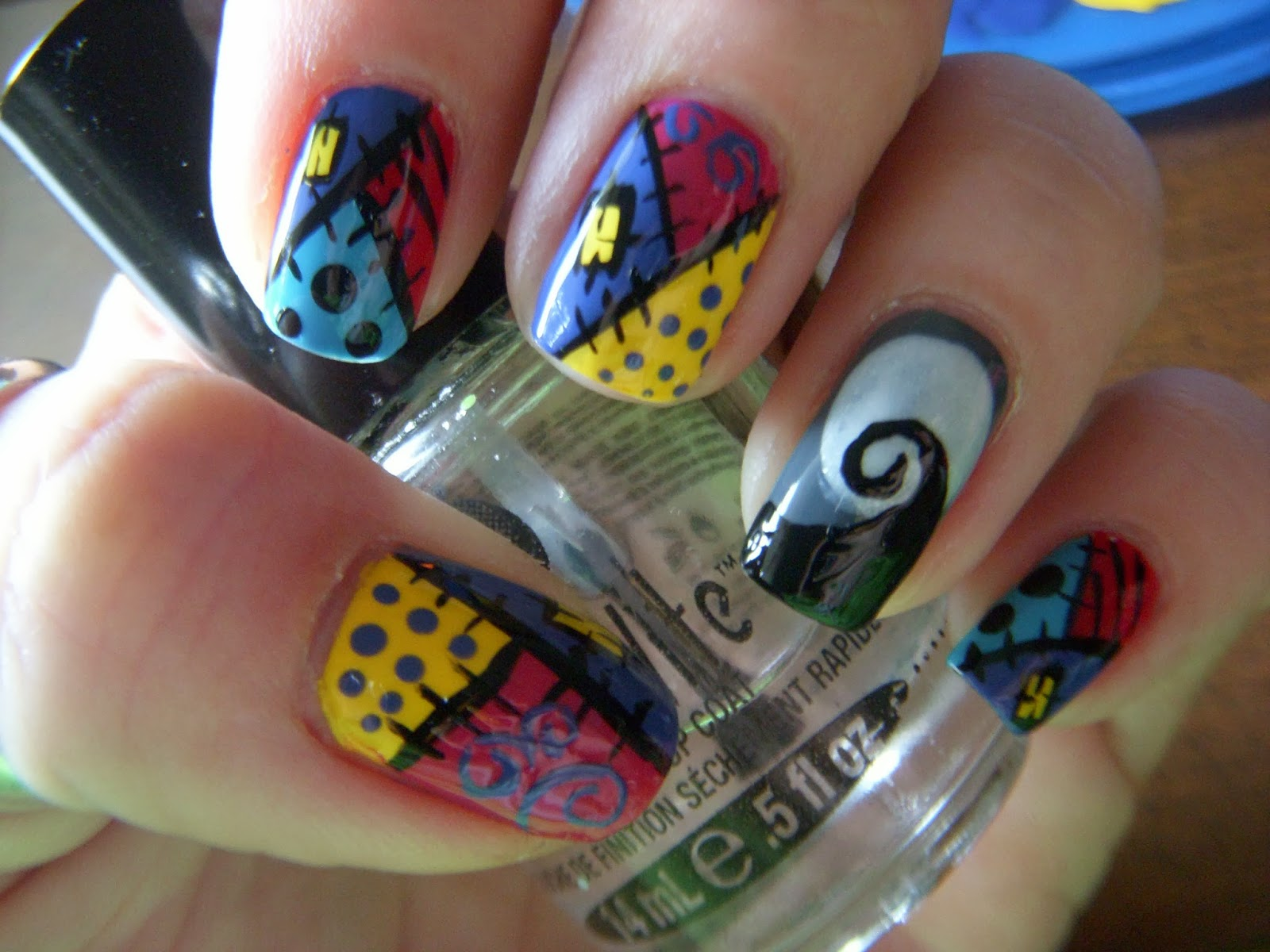 Nail Therapy: Sally\'s Dress inspired (Nightmare Before Christmas)