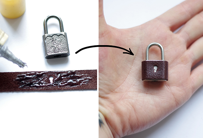 How to make a braided leather bracelet with padlock and key. Step-by-step tutorial created and photographed by Xenia Kuhn for