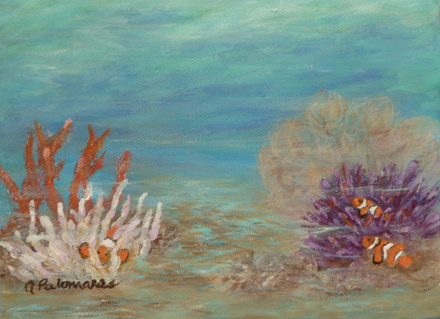 Painting of fish in an underwater scene with coral