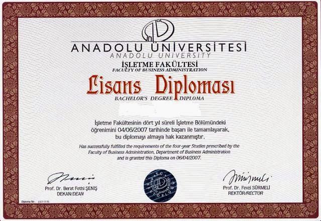 açıköğretim diploması örneği