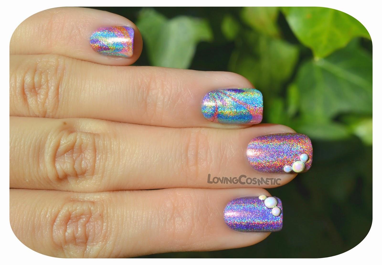 LovingCosmetic Holografico Color Club Water Marble bornprettyStore nails nailart nai art uñas primavera verano 2015