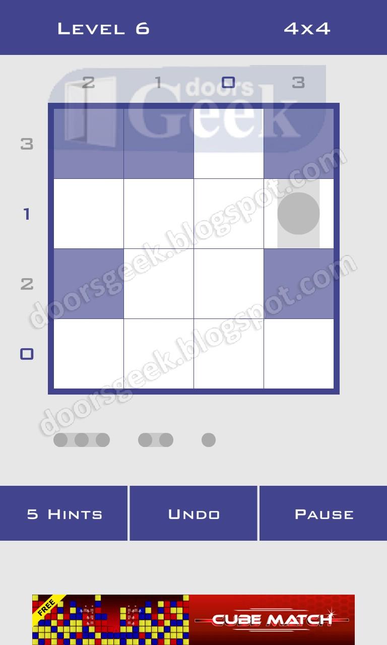 Logic dots 4x4 level 6 solution doors geek for Solution wordbrain cuisine