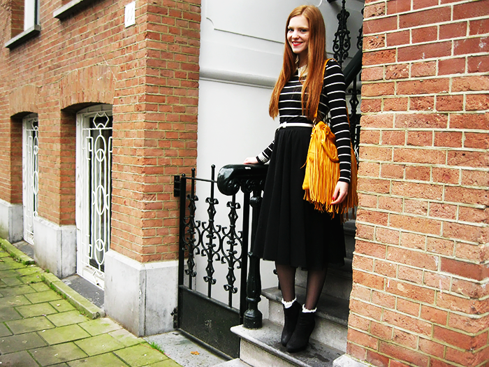 Amsterdam Fashion Style Blog Outfit Yellow Fringe Bag Midi skirt stripes lace socks