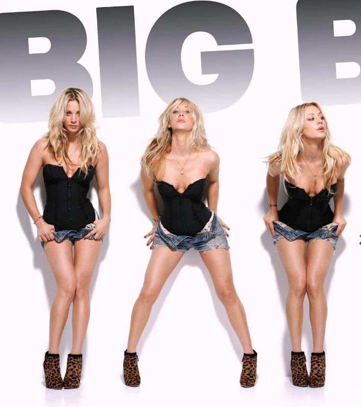 Kaley Cuoco posing in a short shorts, zipper corset and leopard heels for Maxim magazine