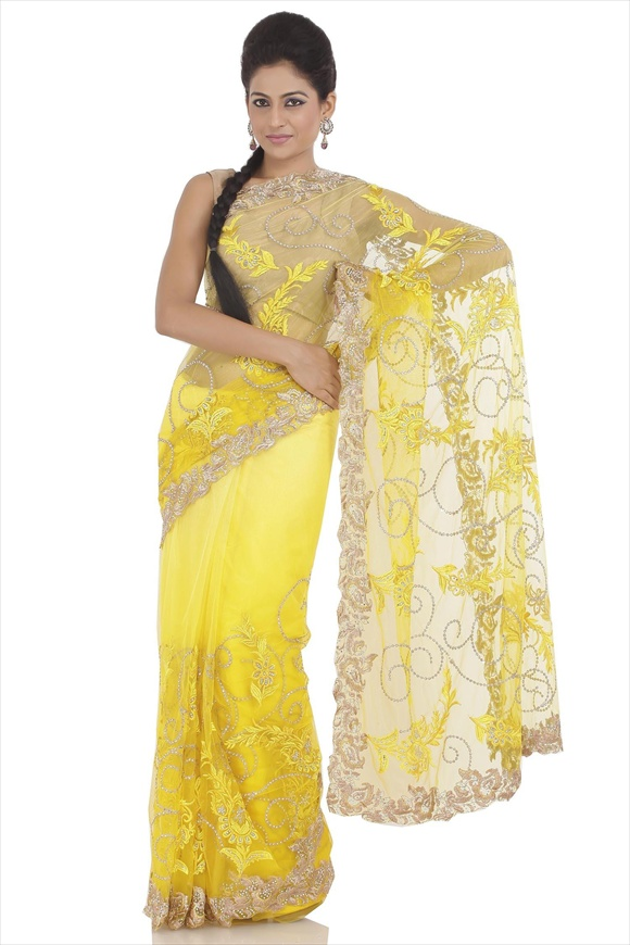 Chrome Lemon Net Saree