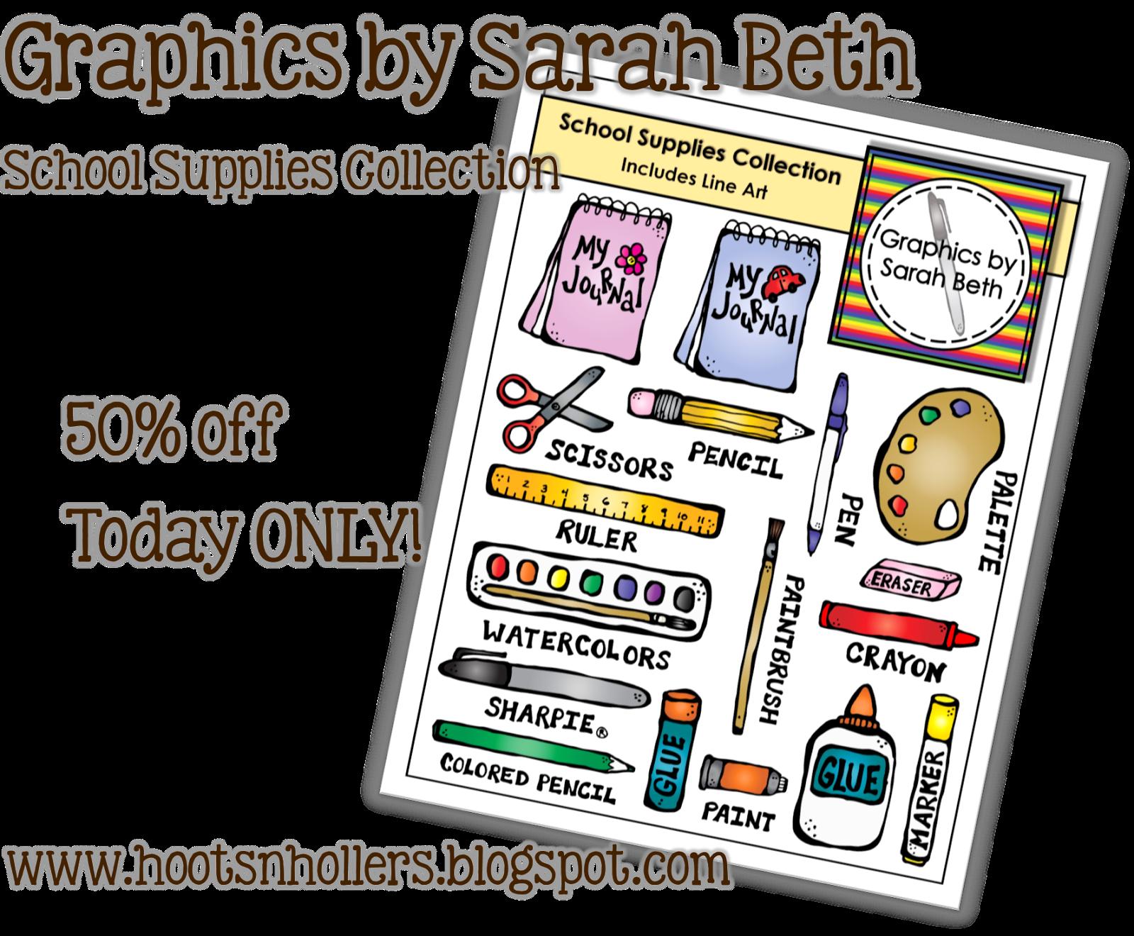 http://www.teacherspayteachers.com/Product/School-Supplies-Collection-Graphics-School-Clipart-728627