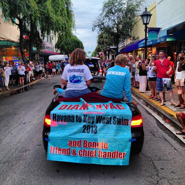 The people of Key West line Duval Street to wish Diana well. photo courtesy Diana Nyad