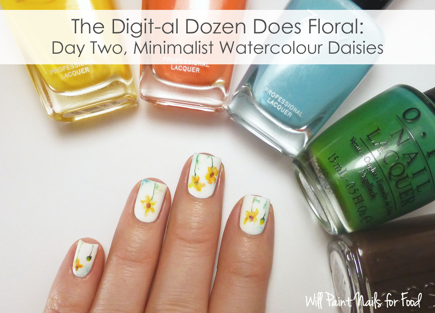 Minimalist watercolour daisies nail art