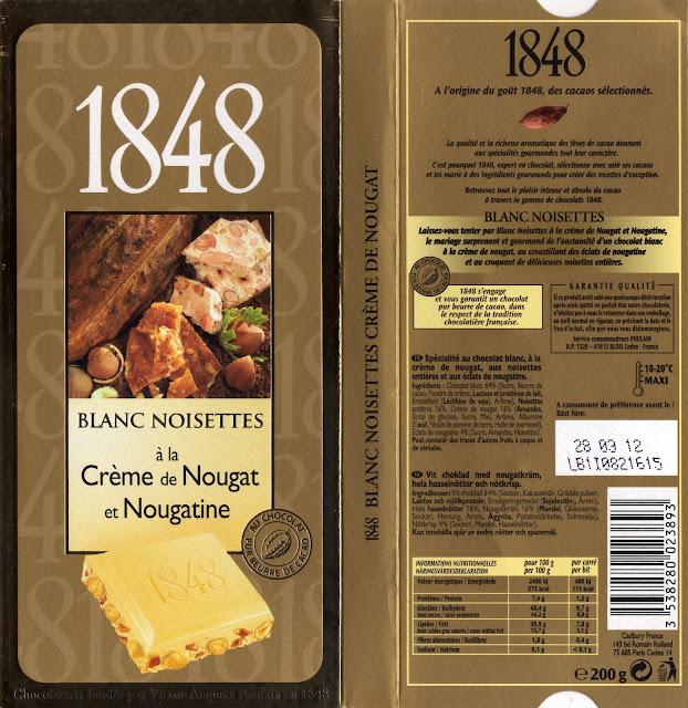 tablette de chocolat blanc gourmand poulain 1848 blanc noisettes à la crème de nougat et nougatine