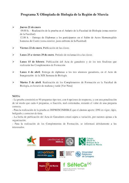 X Olimpiada Regional de Biología - Programa