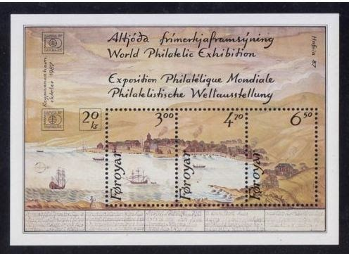 Faroe Islands 1987, HAFNIA 87 World Philatelic Exhibition, Copenhagen, 'East Bay of Torshavn' Watercolor from 1782, Lovely Fresh Miniature Sheet, Superb, Never Hinged Mint, Choice Quality! Scott 148,