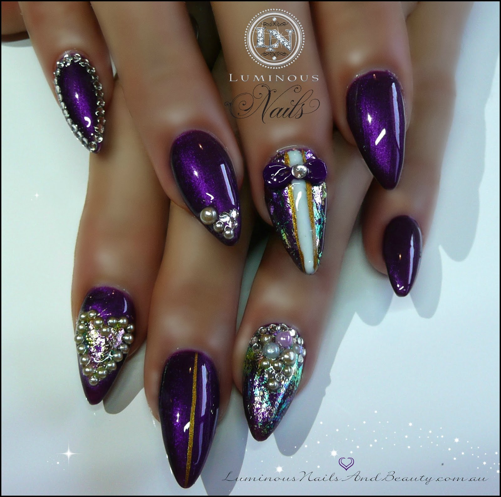 Violet Nails With Diamonds