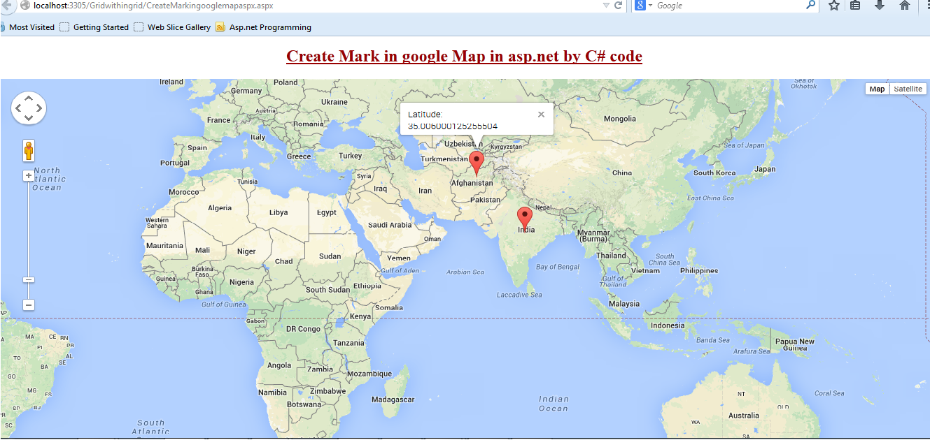 Integrate or show Google Maps in asp.net web site