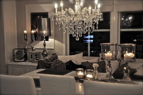 gorgeous light bright traditional style white living room crystal chandelier