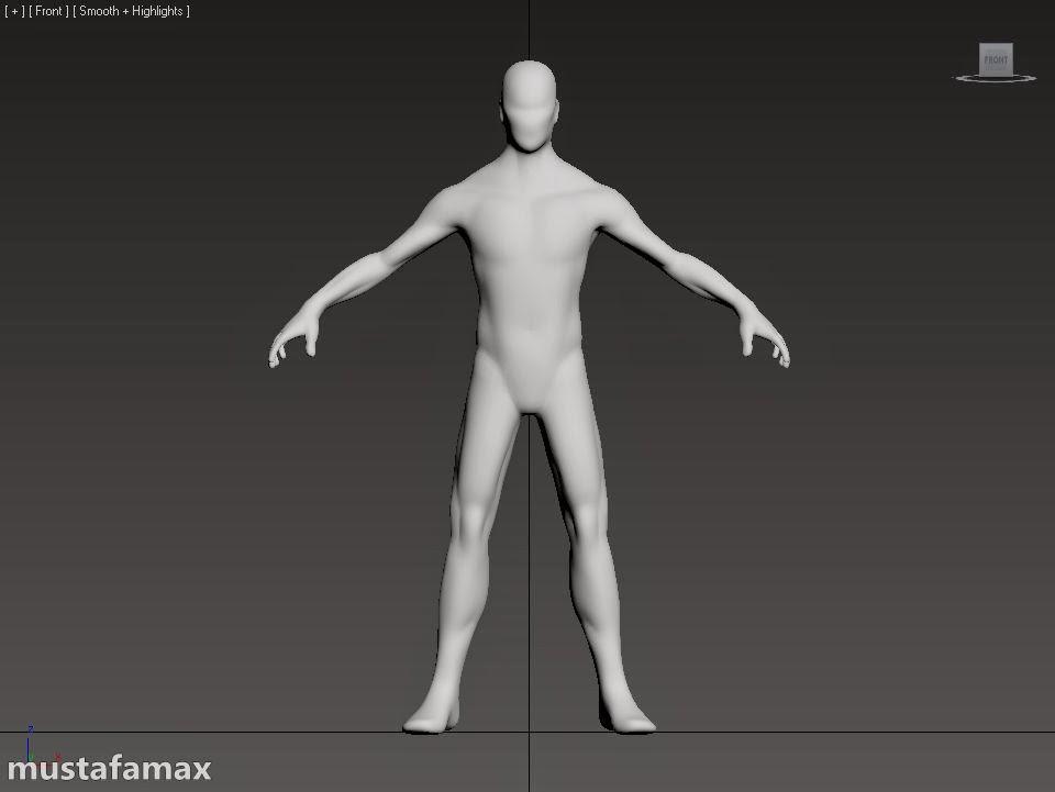أكساء جسم رجل في 3d max 2105