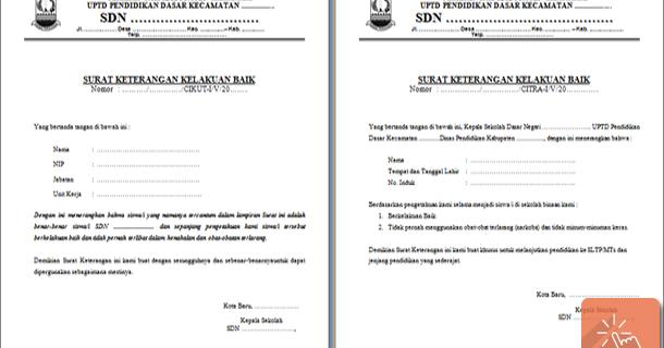 Contoh Surat Keterangan Kelakuan Baik Download File Pendidikan