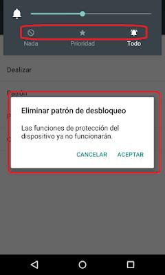 """Con la nueva versión de Android 5.1.1, nos muestra los iconos de los modos de sonido, y tenemos un nuevo sistema de """"protección del dispositivo""""."""