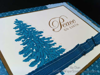 Pacific Blue Evergreen Christmas card by Ida Chan