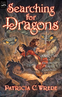 book cover for Searching for Dragons by Patricia C. Wrede shows Cimorne and Mendanbar fighting rock snakes