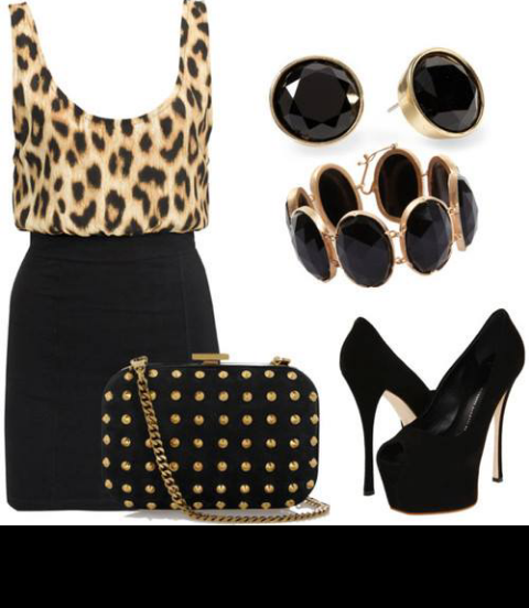 Conjunto falda de tubo,camiseta leopardo y complementos