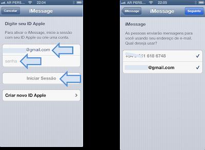 Configuração do Apple iMessage Passo 2