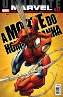 Capa da revista de história em quadrinhos Universo Marvel 25 (Panini Comics), com a morte do personagem Homem-Aranha