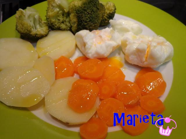 Dulcesilusionesdemarieta verduras al vapor con huevo poche for Cocinar zanahorias al vapor