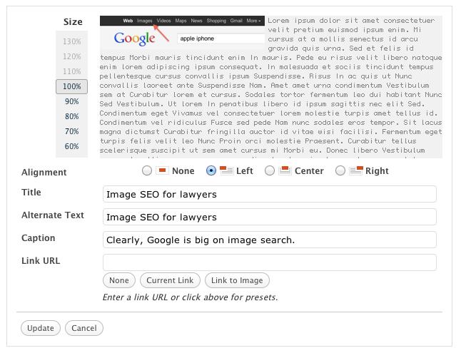 Alt Text in wordpress image - OneClickSeo