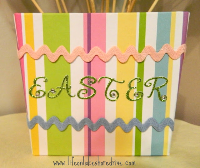 dollar store basket makeover, ric rac, Easter