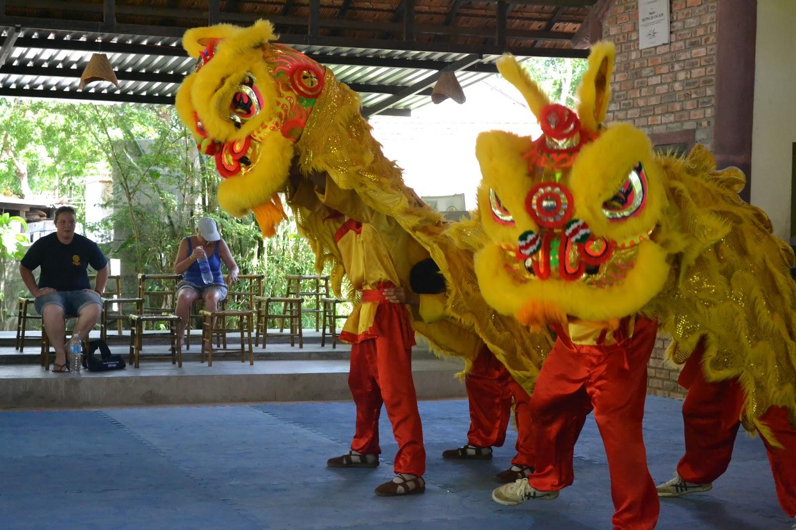Dragon dance at  Martial art centre , Hue
