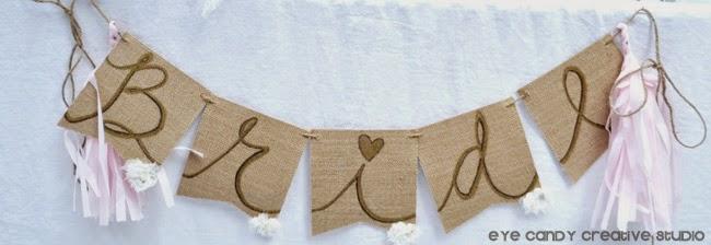 burlap hand lettered bride banner, hand lettering, custom bridal decor