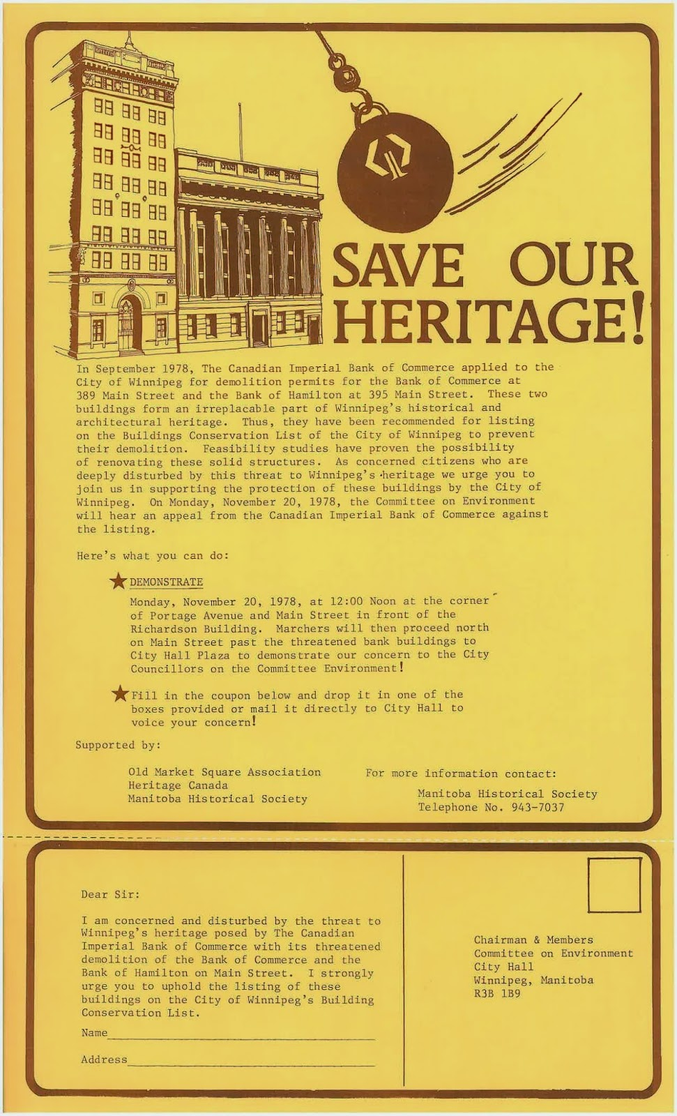 Flyer used to help save 389 Main, including signable tear-off portion at the bottom