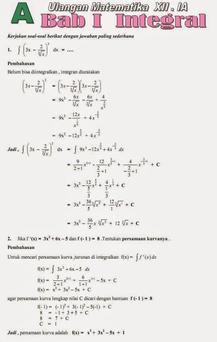 Os2kangkung Soal Soal Dan Pembahasan Ulangan Matematika Sma Bab Hitung Integral 1
