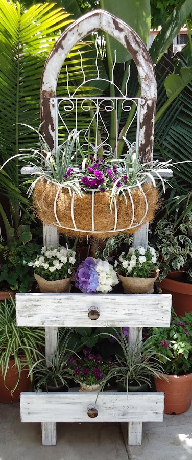 Vintage Wrought Iron Planter with Drawers - SOLD