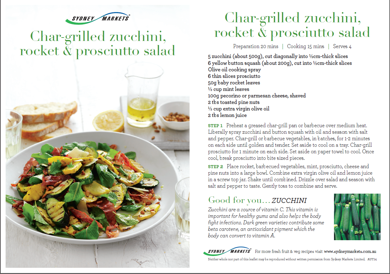 Char-grilled zucchini, rocket and prosciutto salad