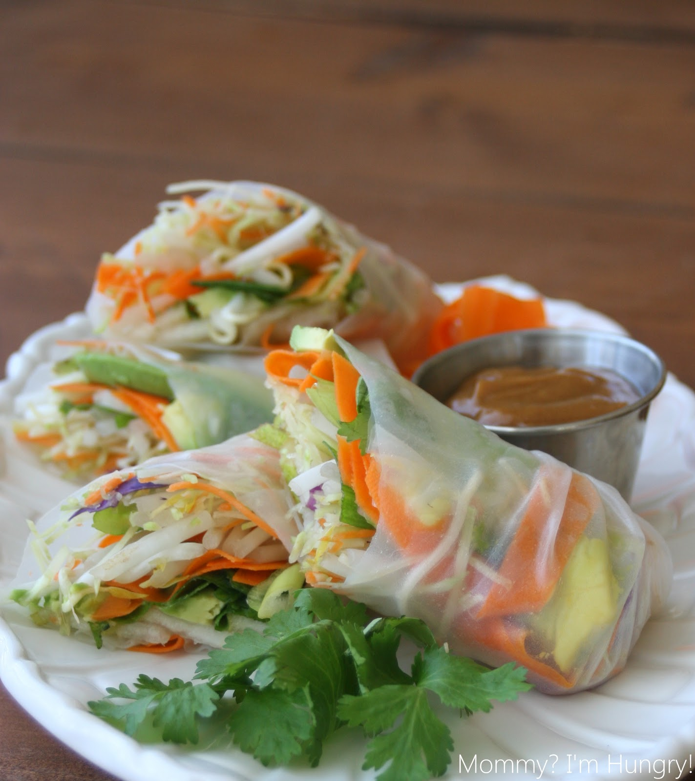 ... : Veggie & Pear Spring Rolls with a Spicy Peanut Butter Dipping Sauce