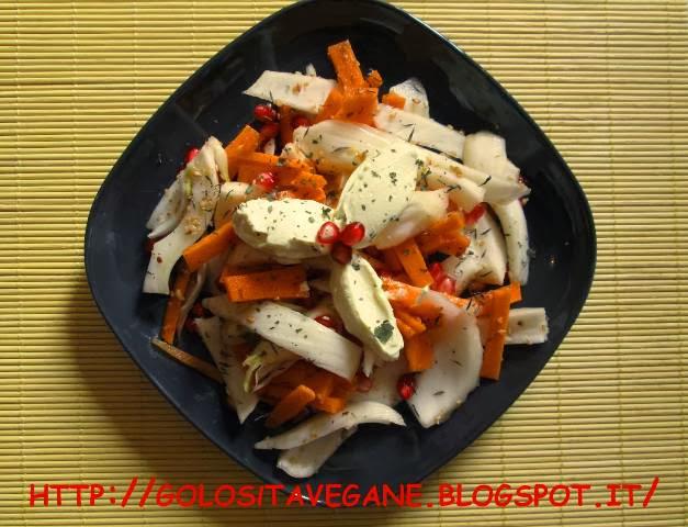 carote, Contorni, curcuma, finocchio, gomasio, insalata, latte di soia, limoni, maionese, melagrana, melissa, ricette vegan, zenzero,