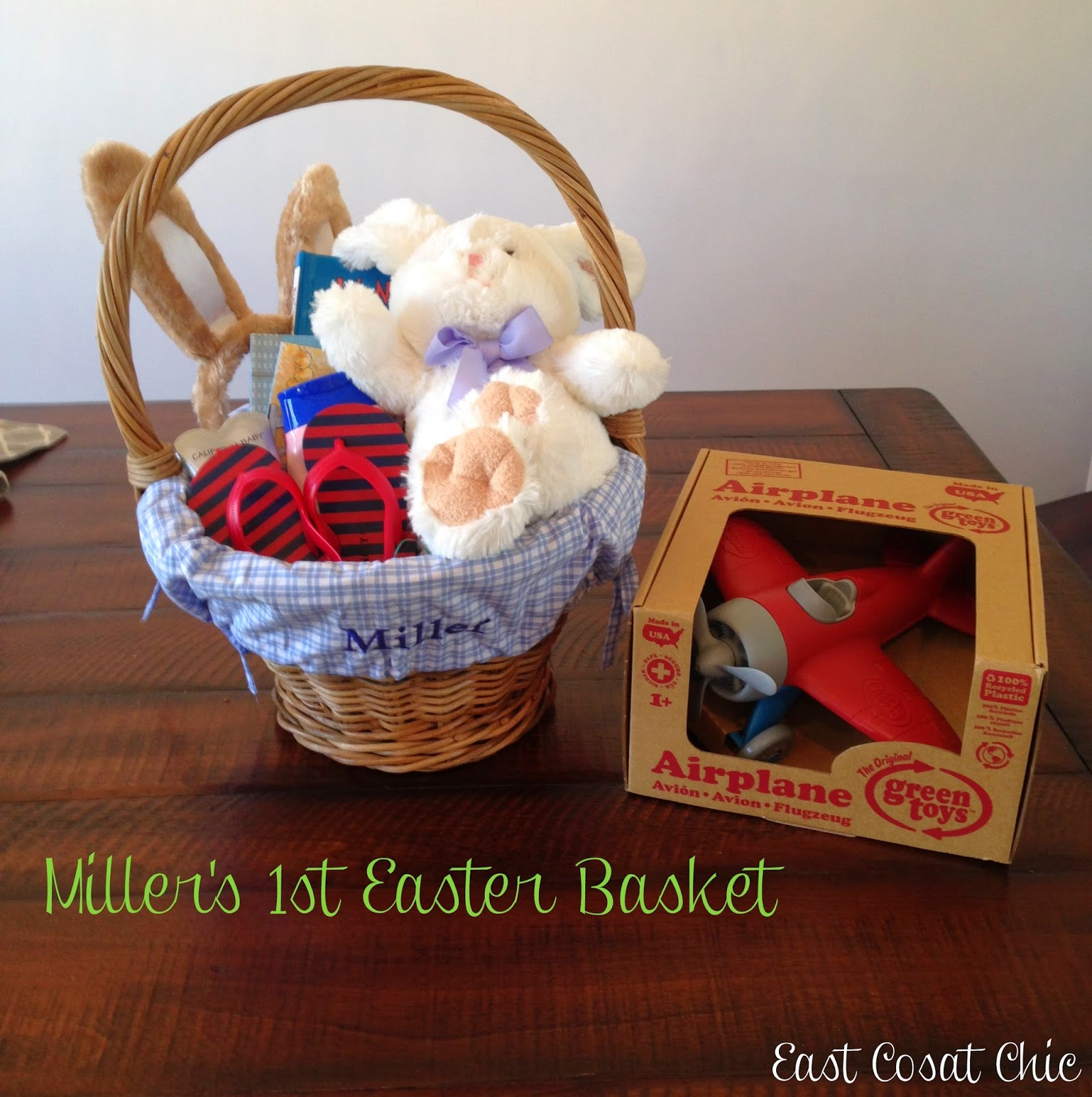 Millers 1st easter basket east coast chic i opted for the small basket from pottery barn kids and had the liner monogrammed obviously the basket is a little smaller than i thought it would be but negle Images