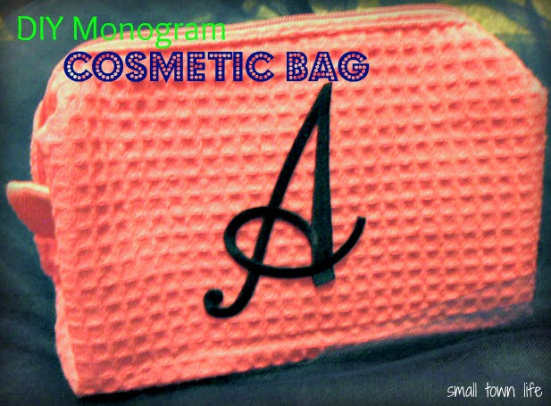 small town life  diy monogrammed cosmetic bag