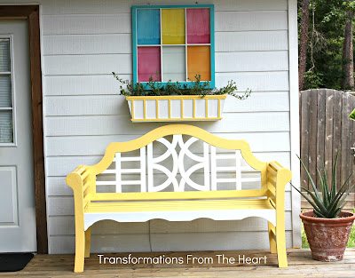 old painted window planter box bench