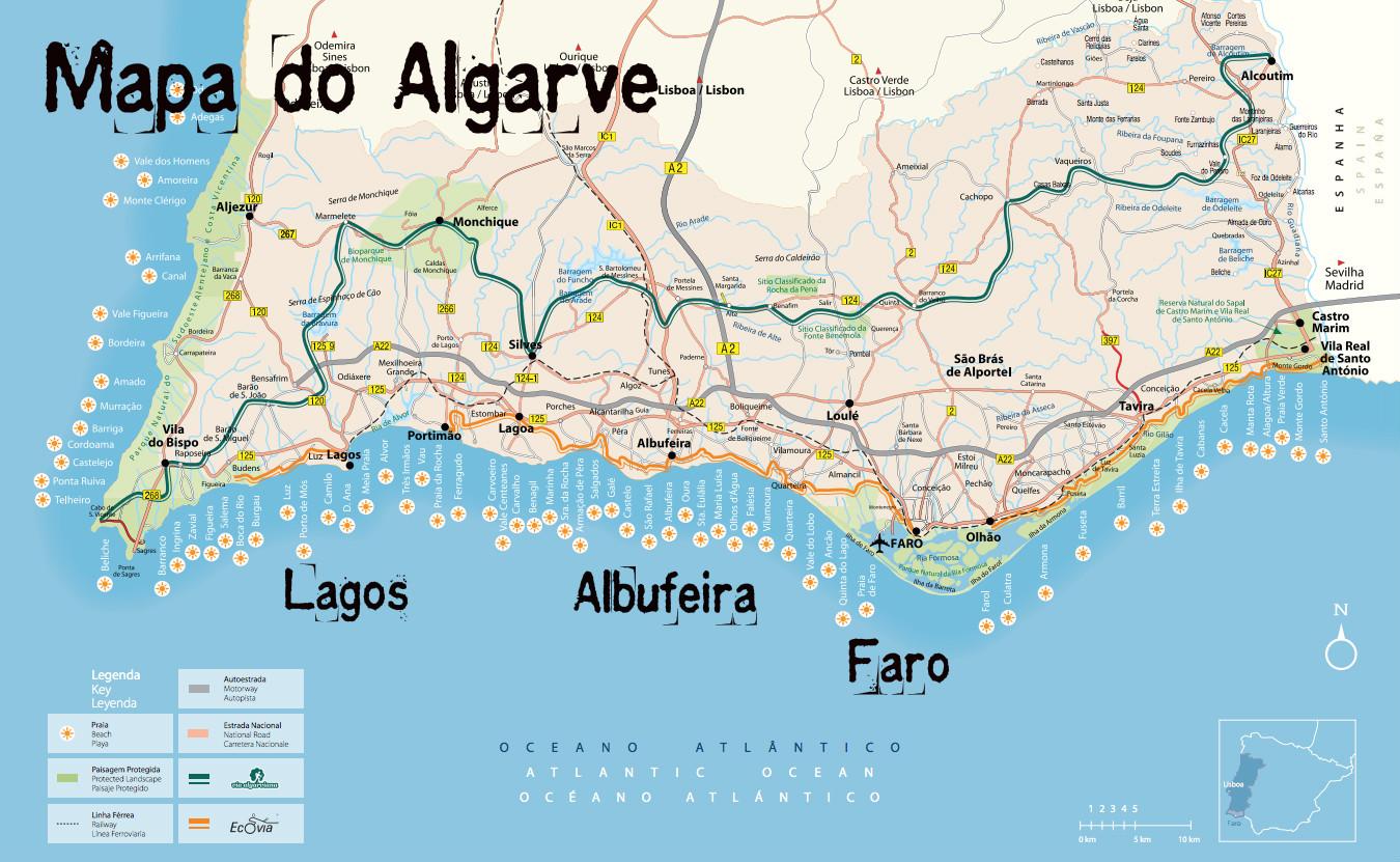 Albufeira Portugal Mapa Mapa Algarve Portugal