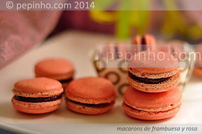 Macarons de frambuesa y rosa